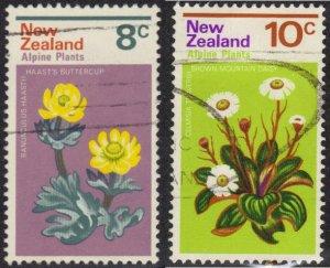 New Zealand #502-3 used alpine flowers
