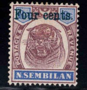 MALAYA Negri Sembilan Scott 15 surcharged Tigers Head stamp MH*
