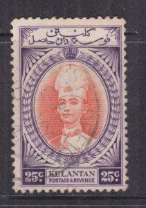 KELANTAN, 1937 Sultan Ismail, 25c. Vermilion & Violet, used, slight spots.