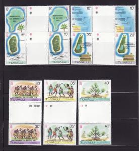 Tuvalu 85-91 Gutter Pairs Set MNH Independence (D)