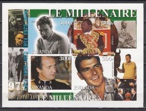 Rwanda, 2001 Cinderella issue. 70`s sheet. Brando, R. Reagan, Politician. IMPERF