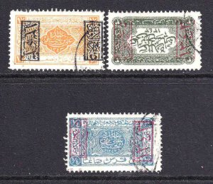 SAUDI ARABIA  EARLY OVERPRINTS USED x3 COLLECTION LOT YOU IDENTIFY AND GRADE #4