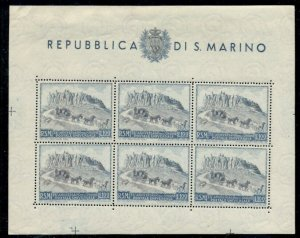 SAN MARINO #304, UPU sheet of 6, og, NH, VF, Scott $300.00