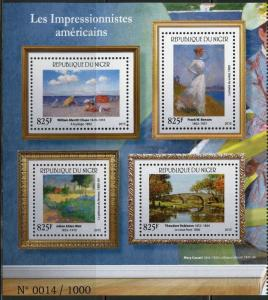 NIGER 2015    AMERICAN IMPRESSIONISTS  SHEET OF FOUR  1000 EXIST MINT  NH