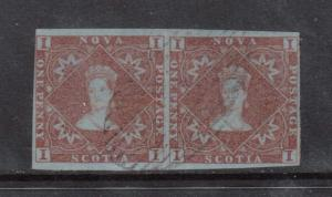 Nova Scotia #1 Used Scarce Pair With Light Cancel **With Certificate**
