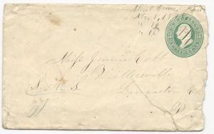 US Postal Stationery Cover Scott #U163 DPO Mont Cenis, Kansas November 8, 1878