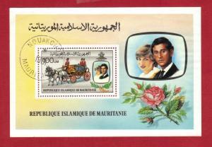 MAURITANIA SC# 483  1981 100 um   SOUVENIR SHEET ROYAL WEDDING   SEE SCAN