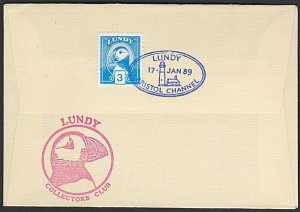 GB LUNDY 1989 cover - Puffin stamp - .......................................F853