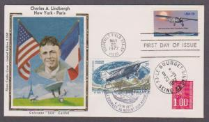 US # 1710 Lindbergh Ltd Edition Flown Combo FDC to France - I Combine S/H