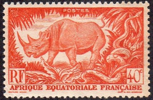 French Equatorial Africa 168- Mint-H - 40c Black Rhinoceros (1947) (cv $0.40)
