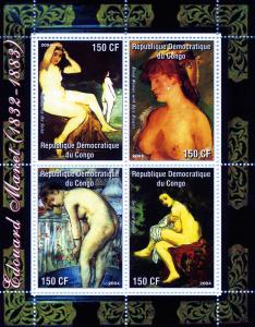 Congo 2004 Edouard Manet NUDES PAINTINGS Sheet (4) Perforated mnh.vf