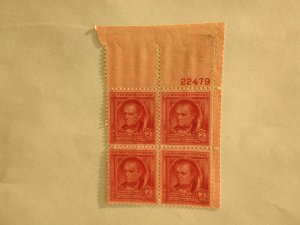 U. S. #860  Mint  OG  NH. Smudge in margin.  Perf partly seperated