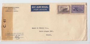 70 cent airmail to >> BRAZIL << WAR issue nice receivers Canada cover