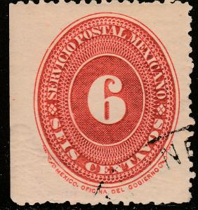 MEXICO 217, 6cts LARGE NUMERAL WATERMARKED, USED F-VF. (134)
