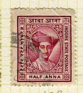 INDIA; INDORE 1927 early pictorial issue fine used 1/2a. value