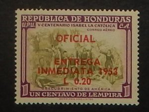 Honduras CE1. 1953 20c on 1c Special Delivery, NH