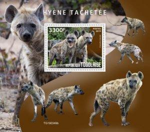 TOGO - 2019 - Spotted Hyena - Perf Souv Sheet - MNH