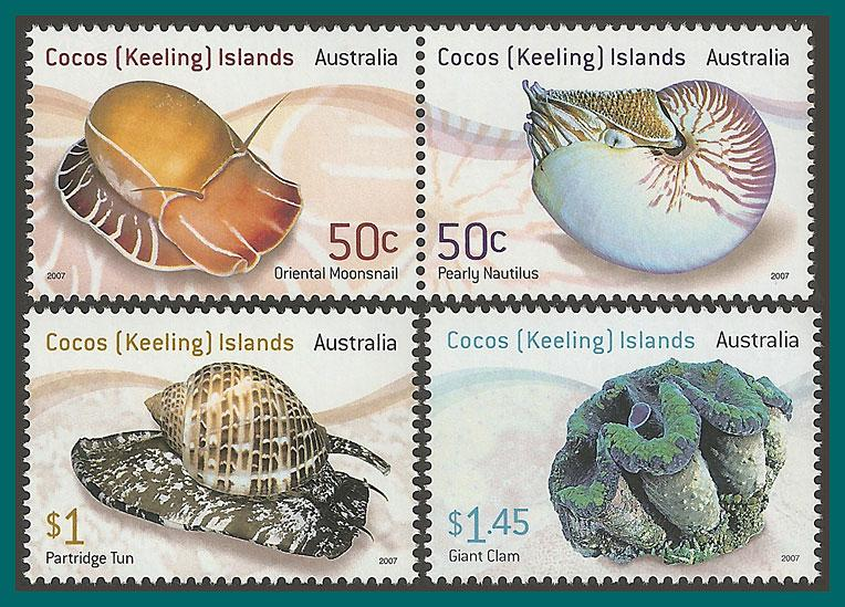 Cocos 2007 Shells, MNH  345-347,SG430-SG433