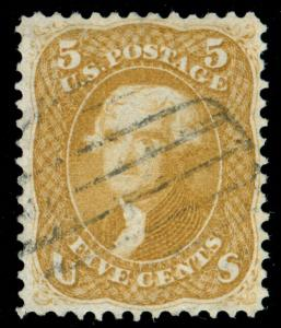 MOMEN: US STAMPS #67a USED BROWN YELLOW