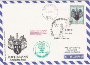 Austria 1979 Balloon Post 700 Years Rottenmann Town Crest Stamps Cover Ref 28713