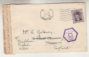 EGYPT, 1940 Farouk, 15m. on Censored cover, Cairo to Great Britain,
