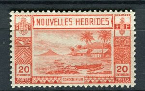 FRENCH; NEW HEBRIDES 1938 early pictorial issue fine Mint hinged 20c. value