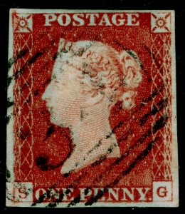 SG8, 1d red-brown PLATE 62, FINE USED. Cat £35. 4 MARGINS. SG