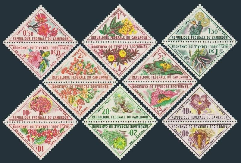 Cameroun J34-J49,MLH/MNH.Michel P35-P50. Due stamps 1963.Flowers.Hibiscus