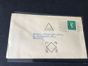 Walsall 1955 triangle 466 cancel stamps cover  Ref R28821