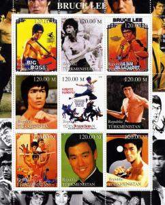Turkmenistan 2000 BRUCE LEE Sheet (9) Perforated Mint (NH)
