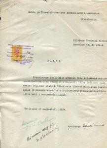 p182 - ESTONIA 1930 Registry REVENUE STAMP on Document Fiscal
