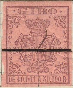 ESPAGNE / SPAIN / ESPAÑA 1861 Sello Fiscal (GIRO) 25 reales - Barrado con Goma