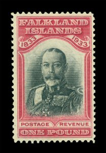 FALKLAND ISLANDS 1933 Centenary  KGV £1 rose & black Scott # 76 (SG 138) mint NH