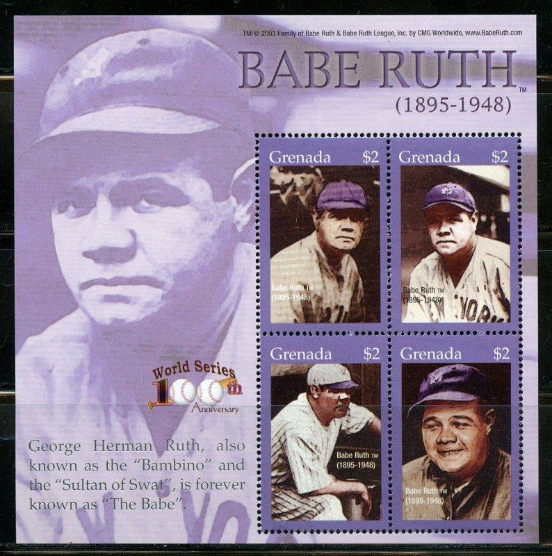 Grenada MNH S/S Babe Ruth Baseball Great