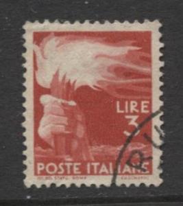Italy - Scott 471 - Definitive -1945 -VFU - Single 3.l Stamp