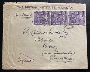 1947 Malta BRitish Institute Airmail Cover To Bibury England