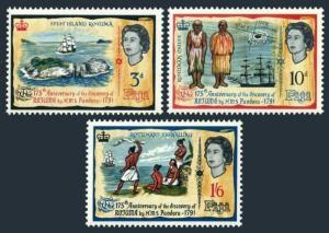 Fiji 221-223,hinged.Mi 193-195. Discovery of Rotuma by H.M.S.Pandora,175,1965.