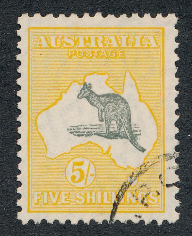AUSTRALIA 100 USED VF, 5 SH. KANGAROO MULT.SMALL CRWN WMK