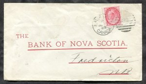 p679 - HALIFAX 1900 Bank of Nova Scotia Cover to Fredriction NB