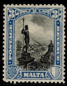MALTA GV SG207, 3s black & blue, VLH MINT. Cat £50.