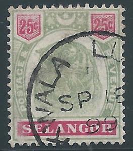 Malaya-Selagor, Scott #33, 25c Tiger Head, Used, VF