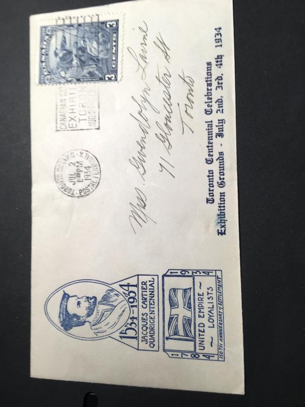 Canada #208 1934 3c Cartier Commemorative Cover For Toronto Centennialand UEL VF