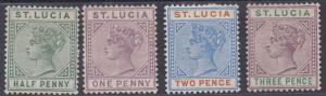 ST LUCIA 1891 QV KEYTYPE 1/2D 1D 2D AND 3D DIE II