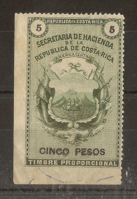 Costa Rica 5 Peso Fiscal Stamp