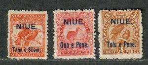 Niue Sc#10, 12+13 M/H/F-VF, Cv. $66