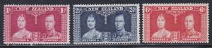 New Zealand # 223-225, 1937 Coronation, NH, 1/2 Cat.