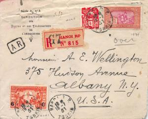 Indo-China, Scott #124,133,141, on 1931 Registered Cover to Albany, N.Y.