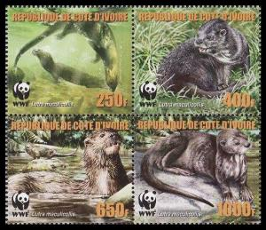 Ivory Coast WWF Speckle-throated Otter 4v in block 2*2 reprint MI#1353-1356A