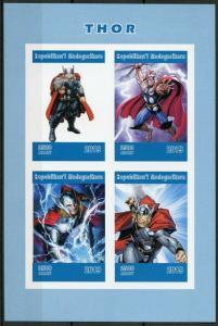 Madagascar 2019 MNH Thor 4v IMPF M/S Marvel Comics Superheroes Stamps
