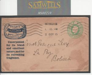 MS259 1915 GB ADVERTISING POSTAL STATIONERY Price's SOAP FRAGRANCE Cover Bolivia